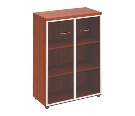 Шкаф для документов средний со стеклянными прозрачными дверьми в рамке ПТ 769 Patriot