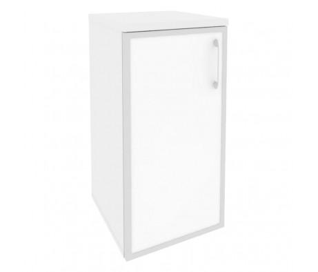 Шкаф низкий узкий левый (1 низкий фасад стекло лакобель в раме) 400x420x823 Onix