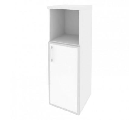 Шкаф средний узкий правый (1 низкий фасад стекло лакобель в раме) 400x420x1207 Onix