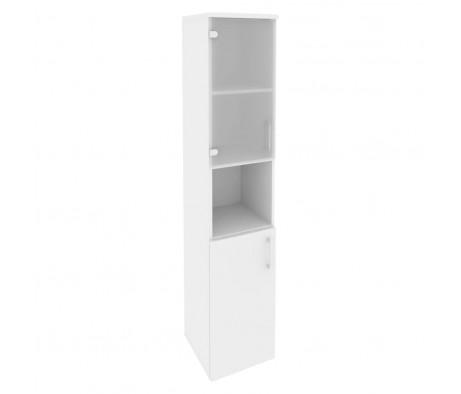 Шкаф высокий узкий левый (1 низкий фасад ЛДСП + 1 низкий фасад стекло) 400x420x1977 Onix