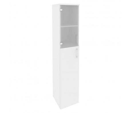 Шкаф высокий узкий левый (1 средний фасад ЛДСП + 1 низкий фасад стекло) 400x420x1977 Onix