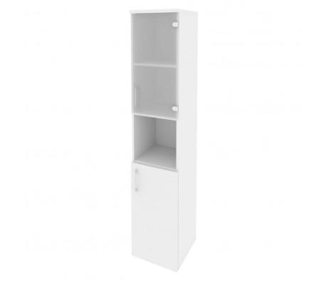 Шкаф высокий узкий правый (1 низкий фасад ЛДСП + 1 низкий фасад стекло) 400x420x1977 Onix