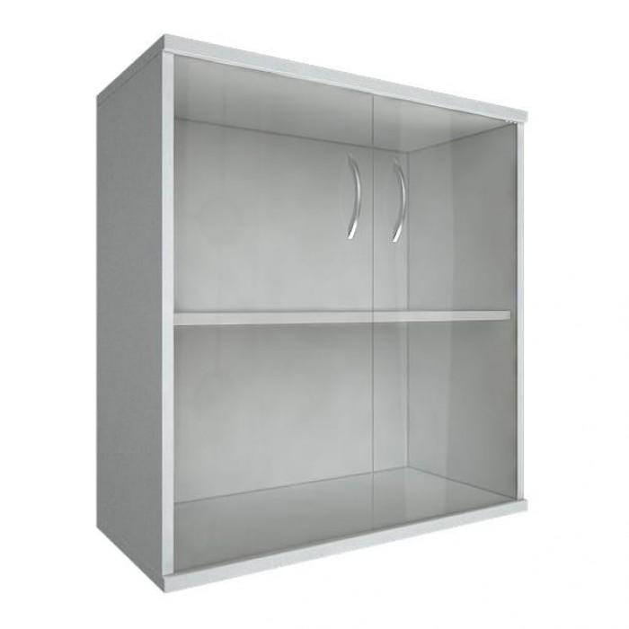 Шкаф низкий широкий 2 низкие двери стекло Riva