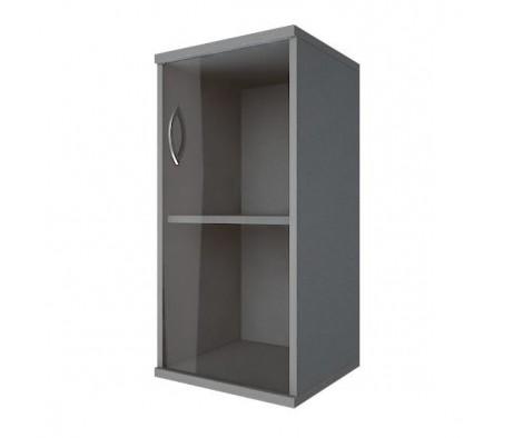 Шкаф низкий узкий 1 низкая дверь стекло Riva