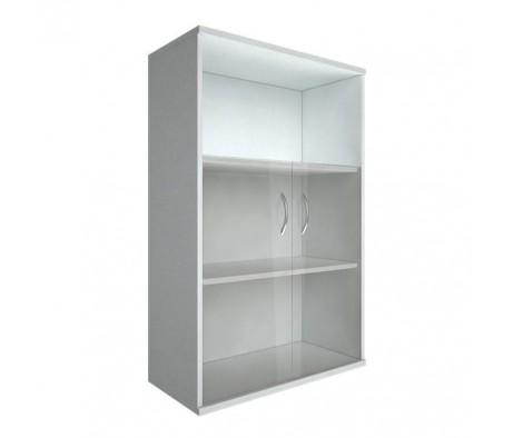 Шкаф средний широкий 2 низкие двери стекло Riva