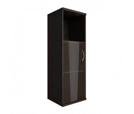 Шкаф средний узкий 1 низкая дверь стекло Riva