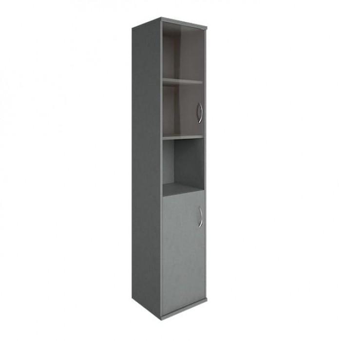 Шкаф высокий узкий 1 низкая дверь ЛДСП 1 низкая дверь стекло Riva