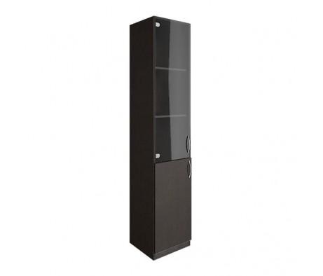 Шкаф высокий узкий 1 низкая дверь ЛДСП 1 средняя дверь стекло Nova S