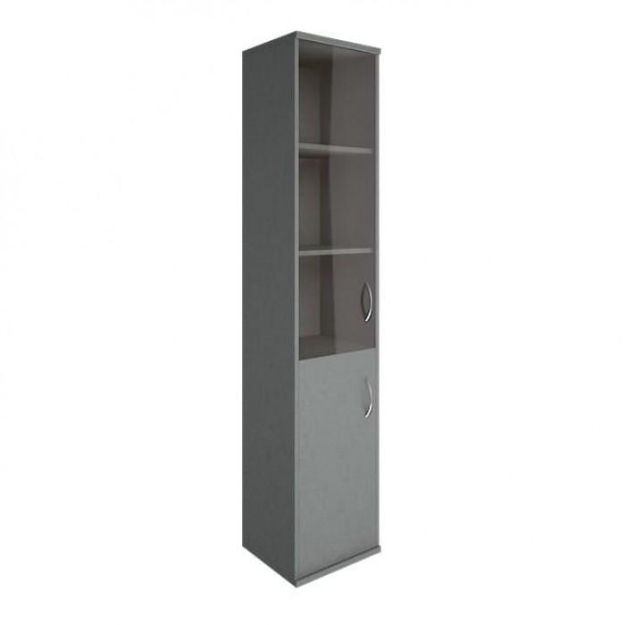 Шкаф высокий узкий 1 низкая дверь ЛДСП 1 средняя дверь стекло Riva