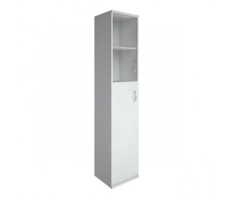 Шкаф высокий узкий 1 средняя дверь ЛДСП 1 низкая дверь стекло Riva