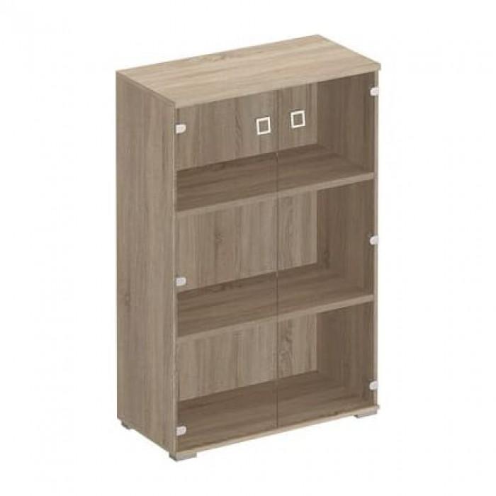 Шкаф для документов средний со стеклянными прозрачными дверьми 90,2x44,2x137,8 Cosmo