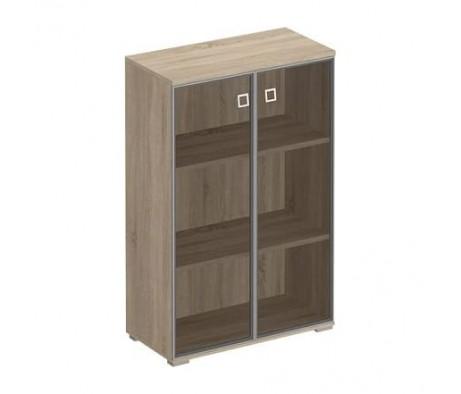 Шкаф для документов средний со стеклянными тонированными дверьми в рамке 90,2x44,2x137,8 Cosmo