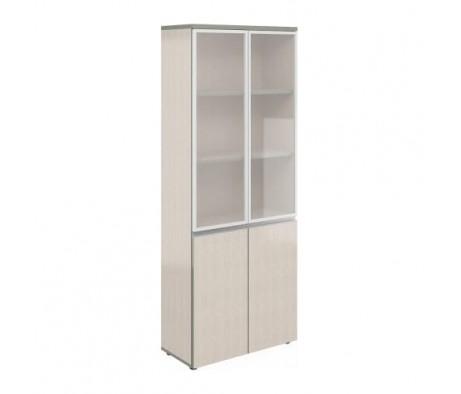 Шкаф широкий высокий со стеклом в алюм. раме V-2.2+4.0+4.4.1*2+ручки Bella Vita