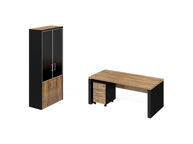 Стол рабочий+тумба мобильная+шкаф комбинированный ПК-ПРЛ-КОМП№2-В1 Парламент