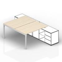 Составной стол на 2 рабочих места Polo для крепления к сервисным опорным тумбам меламиновые аутлеты, начальный элемент 120х125х72