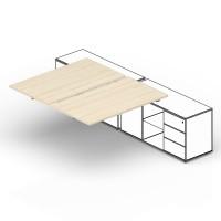 Составной стол на 2 рабочих места Polo для крепления к сервисным опорным тумбам меламиновые аутлеты, приставной элемент 160х125х72