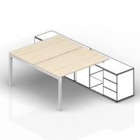 Составной стол на 2 рабочих места Polo для крепления к сервисным опорным тумбам начальный элемент 160х125х72