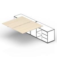 Составной стол на 2 рабочих места Polo для крепления к сервисным опорным тумбам приставной элемент 160х125х72