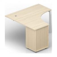 Стол 140х140х72 1 громмет на опорной тумбе 4 ящика, приставной элемент Polo