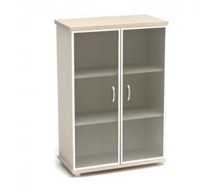 Шкаф низкий со стеклом в аллюм. рамке 855х442х1282 К55 Модерн