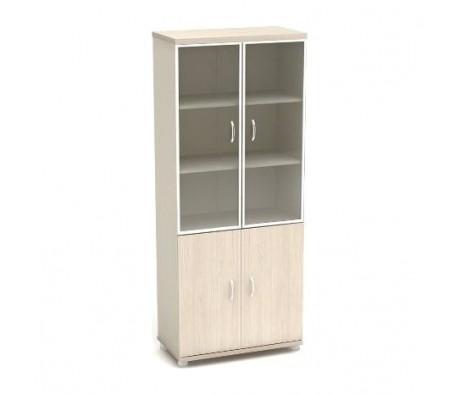 Шкаф высокий со стеклом в аллюм. рамке 855х442х2076 К57 Модерн